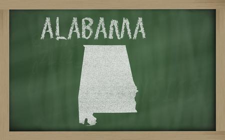 drawing of alabama state on chalkboard, drawn by chalk photo