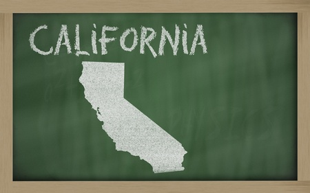 drawing of california state on chalkboard, drawn by chalk Stock Photo - 11284175