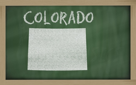 drawing of colorado state on chalkboard, drawn by chalk photo