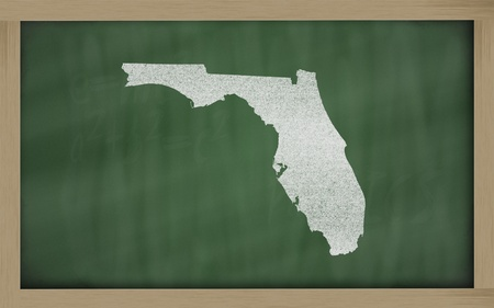 drawing of florida state on chalkboard, drawn by chalk photo
