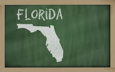 drawing of florida state on chalkboard, drawn by chalk