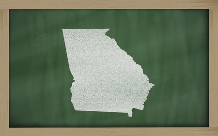 drawing of georgia state on chalkboard, drawn by chalk