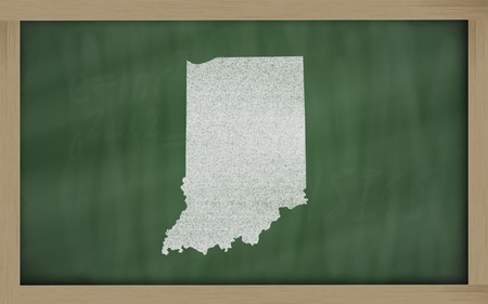 drawing of indiana state on chalkboard, drawn by chalk