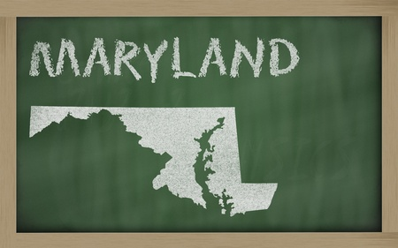 drawing of maryland state on chalkboard, drawn by chalk photo