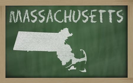 drawing of massachusetts state on chalkboard, drawn by chalk photo