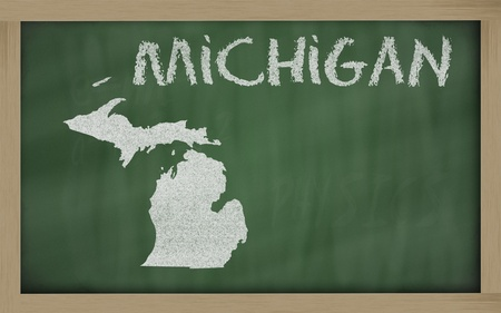chalk outline: drawing of michigan state on chalkboard, drawn by chalk Stock Photo