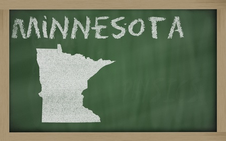 drawing of minnesota state on chalkboard, drawn by chalk Stock Photo