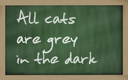wriiting: Blackboard writings  All cats are grey in the dark