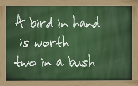 wriiting: Blackboard writings A bird in hand is worth two in a bush  Stock Photo