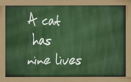 has: Blackboard writings A cat has nine lives