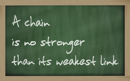 stronger: Blackboard writings A chain is no stronger than its weakest link  Stock Photo