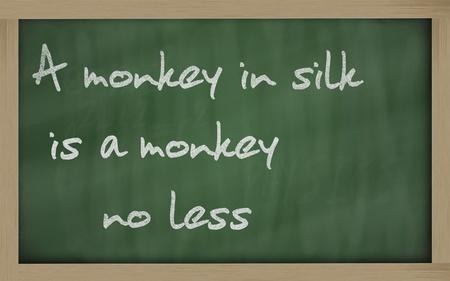 wriiting: Blackboard writings A monkey in silk is a monkey no less