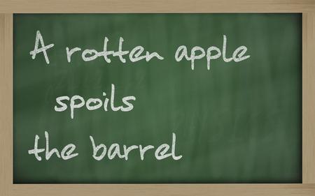 rotten: Blackboard writings A rotten apple spoils the barrel