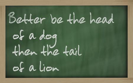 """dann: Blackboard Schriften """"Besser der Kopf eines Hundes sein, dann wird der Schwanz eines L�wen"""""""