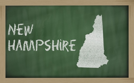 drawing of new hampshire state on chalkboard, drawn by chalk photo