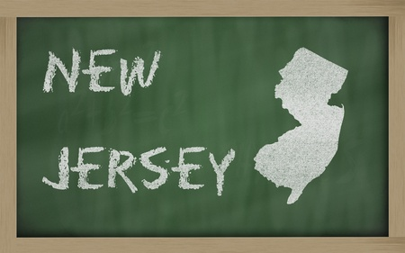 jersey: drawing of new jersey state on chalkboard, drawn by chalk