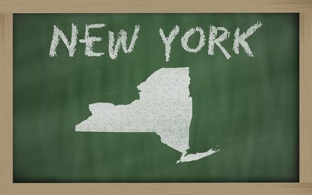 drawing of new york state on chalkboard, drawn by chalk photo