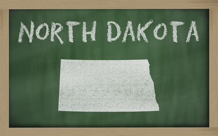 chalky: drawing of north dakota state on chalkboard, drawn by chalk