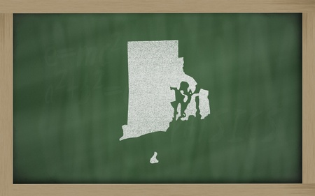 island state: drawing of rhode island state on chalkboard, drawn by chalk Stock Photo