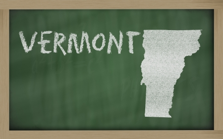 drawing of vermont state on chalkboard, drawn by chalk photo