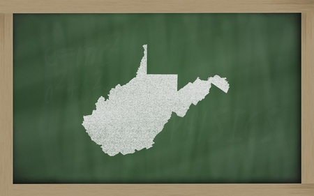 drawing of west virginia state on chalkboard, drawn by chalk