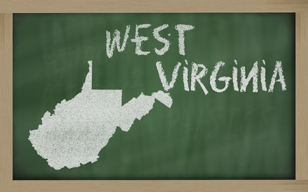 virginia: drawing of west virginia state on chalkboard, drawn by chalk