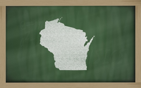 wisconsin state: drawing of wisconsin state on chalkboard, drawn by chalk
