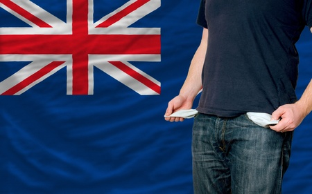 poor man showing empty pockets in front of new zealand flag photo