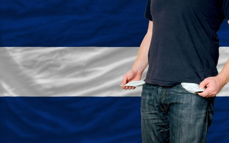 poor man showing empty pockets in front of nicaragua flag Stock Photo - 11494763