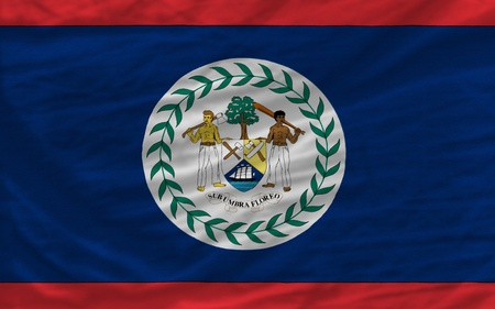 complete national flag of belize covers whole frame, waved, crunched and very natural looking. It is perfect for background Stock Photo