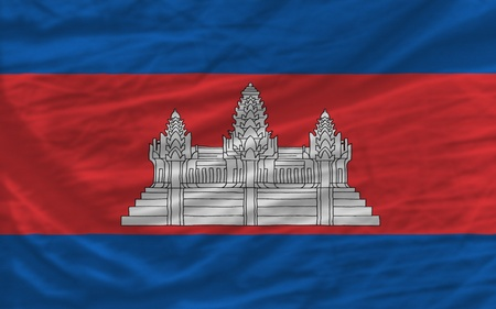 piktogramm: complete national flag of cambodia covers whole frame, waved, crunched and very natural looking. It is perfect for background Stock Photo