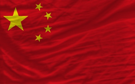 piktogramm: complete national flag of china covers whole frame, waved, crunched and very natural looking. It is perfect for background Stock Photo