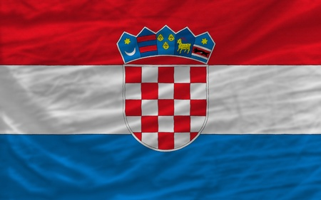 complete national flag of croatia covers whole frame, waved, crunched and very natural looking. It is perfect for background Stock Photo - 11939707