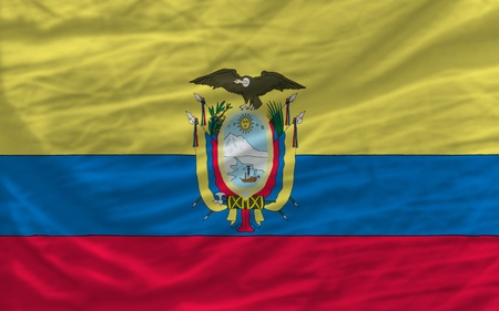 complete national flag of ecuador covers whole frame, waved, crunched and very natural looking. It is perfect for background photo