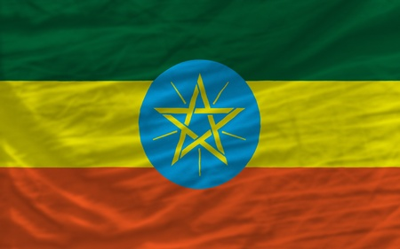 piktogramm: complete national flag of ethiopia covers whole frame, waved, crunched and very natural looking. It is perfect for background