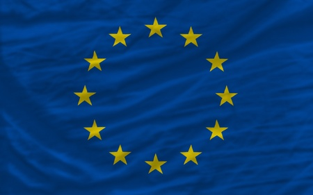 piktogramm: complete national flag of europe covers whole frame, waved, crunched and very natural looking. It is perfect for background Stock Photo