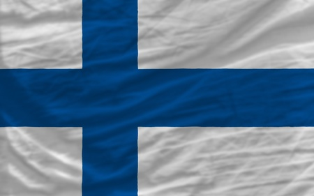 complete national flag of finland covers whole frame, waved, crunched and very natural looking. It is perfect for background photo