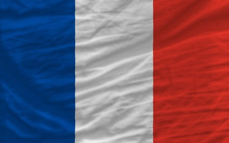 complete national flag of france covers whole frame, waved, crunched and very natural looking. It is perfect for background photo