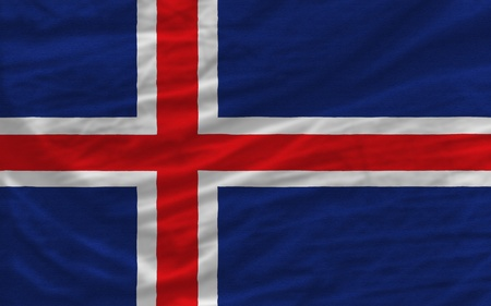 piktogramm: complete national flag of iceland covers whole frame, waved, crunched and very natural looking. It is perfect for background Stock Photo