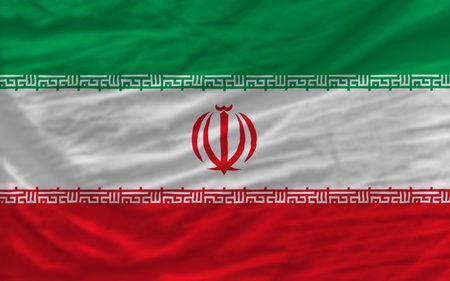 piktogramm: complete national flag of iran covers whole frame, waved, crunched and very natural looking. It is perfect for background Stock Photo