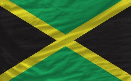 piktogramm: complete national flag of jamaica covers whole frame, waved, crunched and very natural looking. It is perfect for background Stock Photo
