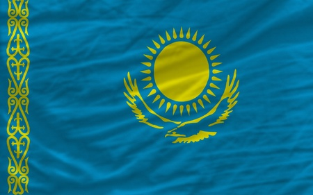 piktogramm: complete national flag of kazakhstan covers whole frame, waved, crunched and very natural looking. It is perfect for background