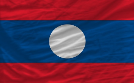 looking for: complete national flag of laos covers whole frame, waved, crunched and very natural looking. It is perfect for background Stock Photo