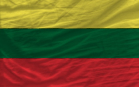 piktogramm: complete national flag of lithuania covers whole frame, waved, crunched and very natural looking. It is perfect for background