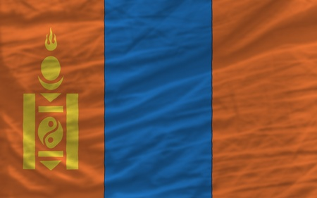 piktogramm: complete national flag of mongolia covers whole frame, waved, crunched and very natural looking. It is perfect for background