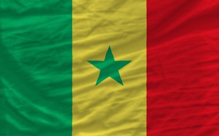 piktogramm: complete national flag of senegal covers whole frame, waved, crunched and very natural looking. It is perfect for background Stock Photo