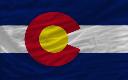 complete: complete flag of us state of colorado covers whole frame, waved, crunched and very natural looking. It is perfect for background Stock Photo