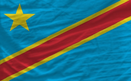 complete: complete national flag of  congo covers whole frame, waved, crunched and very natural looking. It is perfect for background