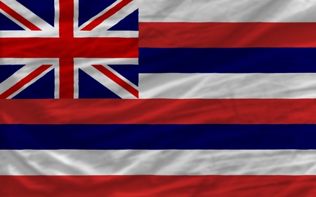 hawaii flag: complete flag of us state of hawaii covers whole frame, waved, crunched and very natural looking. It is perfect for background