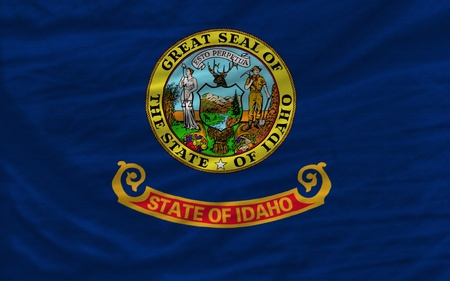 complete: complete flag of us state of idaho covers whole frame, waved, crunched and very natural looking. It is perfect for background
